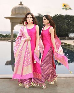 Get This Elegant Pink Suit with designer Silk Dupatta for your occassions only at Qaiynat By Bhavna Malhotra Lehenga Style, Lehenga Choli, Silk Dupatta, Anarkali Gown, Sharara, Churidar, Anarkali Suits, Punjabi Suits, Salwar Kameez