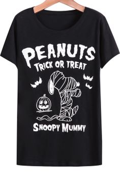 Black Short Sleeve Letters Snoopy Print T-Shirt - Sheinside.com