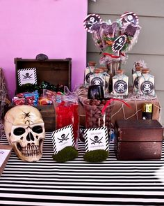 Pirate party candy buffet bounty