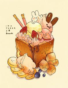 """Inktober Shibuya toast sounds really good rn ^ q ^)_. *lineart done traditionally, color digitally! Cute Food Drawings, Cute Kawaii Drawings, Cute Animal Drawings, Food Kawaii, Kawaii Art, Cute Food Art, Cute Art, Desserts Drawing, Dessert Illustration"