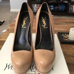 "YSL tribute pump Nude tribute pump. Leather toe with suede. 6"" heel. Yves Saint Laurent Shoes Heels"