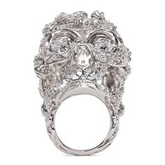 Alexander Mcqueen Crystal forest skull ring featuring polyvore, fashion, jewelry, rings, metallic, crystal jewelry, alexander mcqueen ring, crystal jewellery, skull jewelry and crystal rings