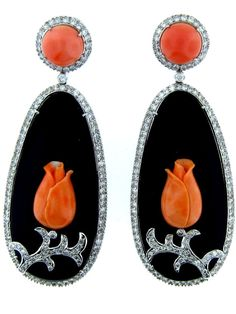 Onyx, Coral, and Diamond Art Deco Earrings