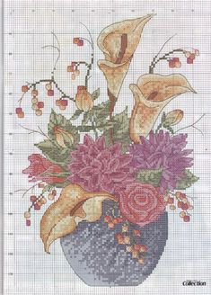 Autumn flowers free cross stitch pattern