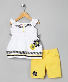 Loving this White Flower Eyelet Tunic & Yellow Shorts Set - Toddler on #zulily! #zulilyfinds