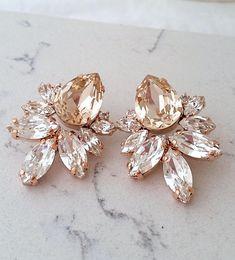 Blush Earrings,Champagne Earrings,rose gold Large Bridal Earrings,Bridesmaids Earrings,Silk Crystal Bridal Earrings, Blush champagne Studs | http://etsy.me/2u0ZN4s