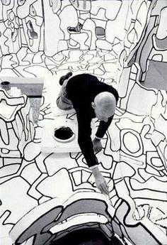 """Jean Dubuffet in his atelier, working on """"Site Scriptuaire II"""", Paris 23 Feb. 1974 -by Kurt Wyss"""