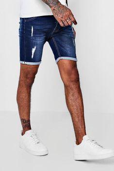 dc3a261c5959 £20 Boohoo Mens Skinny Fit Jersey Denim Shorts With Selvedge Skinny Fit,  Denim Man
