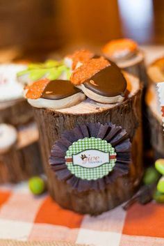 Acorn cookies at a kids' Thanksgiving party! See more party planning ideas at CatchMyParty.com!