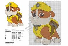 Rubble from Paw Patrol free cross stitch pattern - free cross stitch patterns by Alex Elephant Cross Stitch, Cross Stitch Baby, Cross Stitch Charts, Cross Stich Patterns Free, Cross Stitch Designs, Plastic Canvas Christmas, Plastic Canvas Crafts, Stitch Cartoon, Embroidery Hoop Art