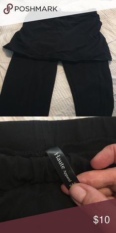 Black skirted leggings Worn once. Not my style. Black skirted leggings haute apparel Pants Leggings