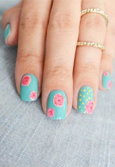 Nail Art How-To: Pretty Floral Manicure, would like better with out the yellow polka dots