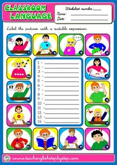 #CLASSROOM LANGUAGE WORKSHEET 3 (AVAILABLE IN BLACK & WHITE)
