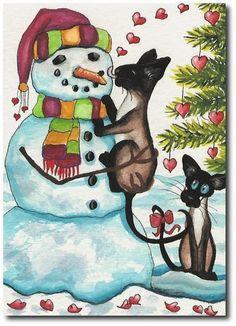 Siamese Cats Winter Snowman Valentine Kisses Art By BiHrLe LE Print ACEO