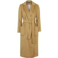 TOPSHOP Belted Wool Blend Coat (180 CAD) ❤ liked on Polyvore featuring outerwear, coats, camel, wool blend coat, topshop coat, brown coat, belted camel coat and fitted coat
