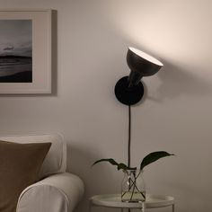 IKEA - SKURUP, Table/wall uplight, black, Table lamp or wall lamp – you can decide since the lamp can also be mounted on the wall. You can easily direct the light where you want it because the lamp head is adjustable. Gives a good general light. At Home Furniture Store, Modern Home Furniture, Clear Light Bulbs, Ikea Table, Paint Shades, Black Table Lamps, Led Lampe, Wall Lights, Led Lamp