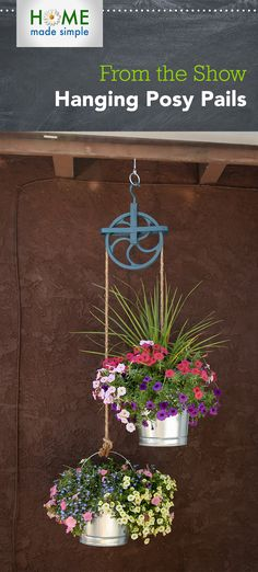 Make this decorative plant hanger out of a vintage pulley, metal buckets and rope! For more DIY planters, watch Home Made Simple, Saturdays, 9am/8C on OWN.
