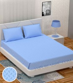 Fresh Leaflets Blue King Size Bedsheet King Size Bed Sheets, Leaflets, Cover Size, Good Sleep, Mattress, Pillow Covers, Colours, Pure Products, Fresh