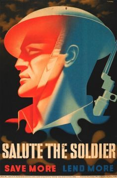 """Salute the Soldier Abram Games WWII, 1944 - original vintage poster by Abram Games listed on <a href=""""http://AntikBar.co.uk"""" rel=""""nofollow"""" target=""""_blank"""">AntikBar.co.uk</a>"""