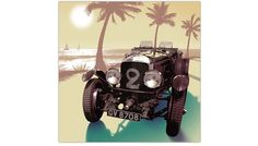 Miami Bentley in high-resolution colour image printed on the highest quality canvas. Cool and masculine print of a retro Bentley, adds nostalgia with its vivid detail and charming sunset.