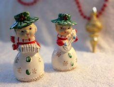 Napco Christmas Holly Snowflake Girls Lefton Salt and Pepper Shakers