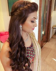 Open Hairstyles, Indian Wedding Hairstyles, Elegant Hairstyles, Bride Hairstyles, Beautiful Hairstyles, Hairdos, Hairstyles For Weddings, Indian Hairstyles For Saree, Loose Curls Hairstyles