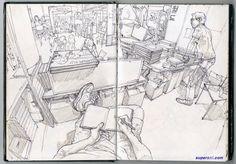 Sketchbook Inspiration, Art Sketchbook, Moleskine, Junggi Kim, Perspective Art, Kim Jung, Environment Concept Art, Korean Artist, Marker Art
