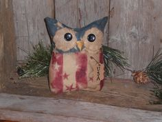 1 Prim Rustic USA Patriotic July 4 Americana OWL Bowl Filler Ornie Ornament  #Primitive #ChooseMoosePrimitiveDesigns