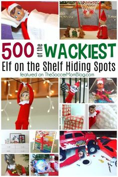 Awesome collection of over 500 bizarre Elf on the Shelf hiding spots! (safe to look at with the kids!) #Christmas #elf
