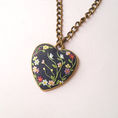 Dark Blue Hard  Necklace, Deep Blue Necklace, Clay Embroidery, Birds Necklace, Art Necklace, Gifts, Vintage Necklace, Polymer Clay…