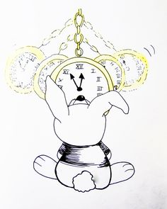 *Tic-toc, tic-toc... The White Bunny is busy studing the hypnose teory  Project Fairytales (Re)Invented - Alice in Wonderland Pen 2015