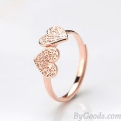 <3 Rose Gold Color Ring with Diamond Hearts <3