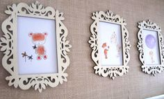 Kids Decor, Nursery Wall Art, Framed Prints, Laser Cut Wood,