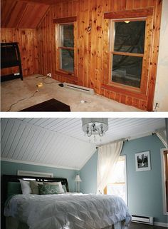 Removing wood paneling is no easy task, so this homeowner decided to scrap the panels on the walls and simply paint over the ceiling, What's left actually has adorable texture and life. Get the tutorial at Fixing it Fancy Wood Paneling Makeover, Painting Wood Paneling, Paneling Ideas, Painted Wood Walls, Wood Panel Walls, Home Renovation, Home Remodeling, Closet Renovation, Bedroom Remodeling