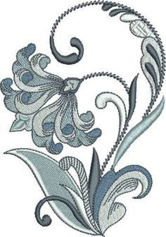 Pat Williams Embroidery Design: Queens Fleur De Lis Floral