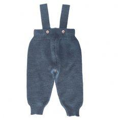 Mole Little Norway Ull Billie Suspenders Trousers Petrolblue