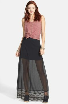 Frenchi® Lace Hem Maxi Skirt (Juniors) available at #Nordstrom