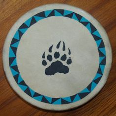 "Bear Tracks with Border 16"" Native American Hand Drum by Mark Barfoot  buyadrum.net"