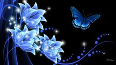 Purple flowers and butterfly Bunch Of Flowers, Purple Flowers, Colorful Flowers, Flower Wallpaper, Wallpaper Backgrounds, Desktop Wallpapers, Papillon Violet, Blue Butterfly, Butterfly Flowers