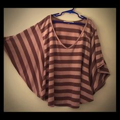 Striped Tunic Comfy, flowing striped tunic with batwing sleeves. Very gently worn, only a few times. Rewind Tops Tunics