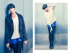 Lisa M mixing autumn brights with a chunky knit and Diesel sheepskin coat, Zurich #SuccessfullyStyled www.diesel.com/female
