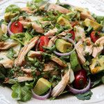 This easy and quick chicken salad is a great way to use chicken leftovers. It's very common that when we have roasted/grilled chicken or a store bought rotisserie chicken, we always have a little left. It's not enough for a full meal, but it's enough chicken meat to use as an addition for a
