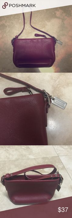 {Coach Dark red genuine leather bucket style bag} Coach handbag, genuine leather. Comes from smoke-free home, no scuffs or marks on inside or outside. Excellent condition; this was minimally worn. Comes with all hardware intact & original dust bag. Coach Bags Shoulder Bags