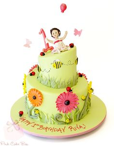 Riya�s 1st Birthday Garden Themed Cake by Pink Cake Box in Denville, NJ.  More photos at http://blog.pinkcakebox.com/riyas-1st-birthday-garden-themed-cake-2013-09-24.htm  #cakes