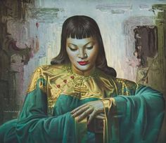 Vladimir Tretchikoff - Lady Of The Orient - Gouttelette Complete colection of art, limited editions, prints, posters and custom framing on sale now at Prints. Vintage Prints, Vintage Art, Vintage Ladies, Canvas Art Prints, Framed Prints, Kitsch Art, Le Cap, December, South African Artists