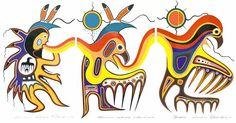 Jackson Beardy's Metamorphosis shows a thunder dancer, a human transforming to spirit animal and a thunderbird. Aboriginal art provides good medicine for hospital gallery - Winnipeg Free Press