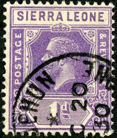 """Sierra Leone  1926 Scott 123 1p violet, Wmk 4, Die II, """"George V"""""""