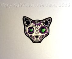 Cat Sugar Skull Window Sticker Vinyl Day of the Dead IPhone case Decal add to family set. $2.25, via Etsy.