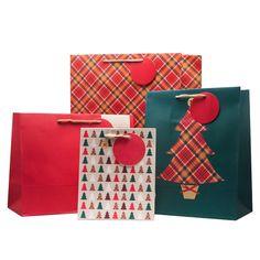 pack of 4 christmas tartan pattern gift bags 299 giftbagshop