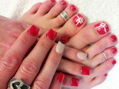 Red nails & toes for Christmas...!!